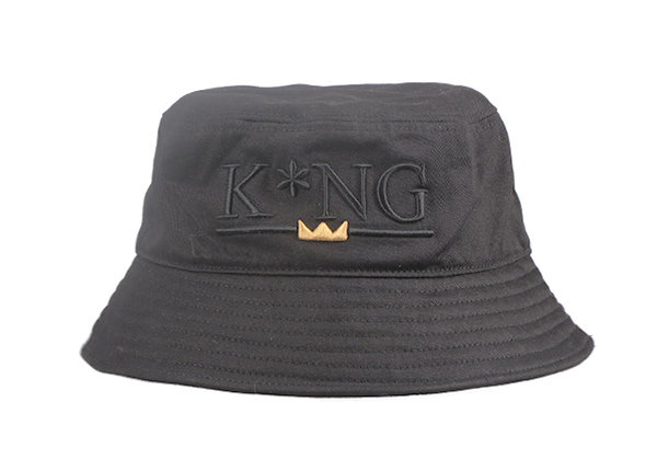 Front of Hip Hop Black Fashion Bucket Hat with Embroidered King Logo