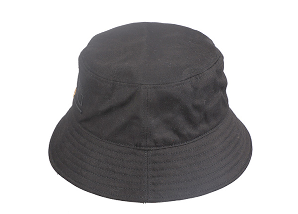 Side of Hip Hop Black Fashion Bucket Hat with Embroidered King Logo