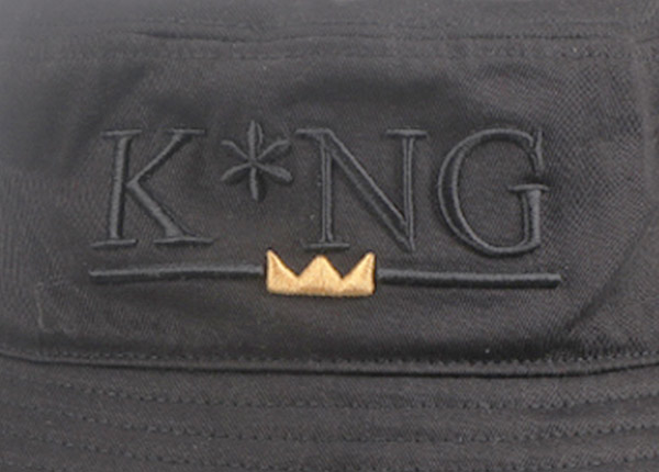 Logo of Hip Hop Black Fashion Bucket Hat with Embroidered King Logo
