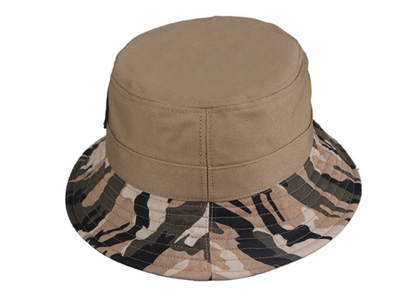 Slant of Fitted Washed Cotton Tan Bucket Hat with Camo Brim