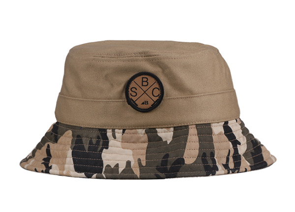 Front of Fitted Washed Cotton Tan Bucket Hat with Camo Brim