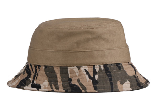 Back of Fitted Washed Cotton Tan Bucket Hat with Camo Brim