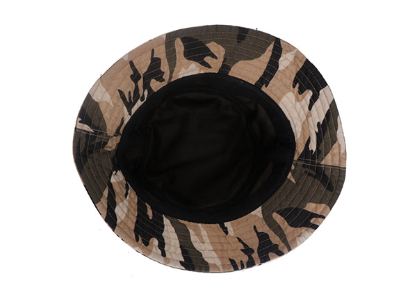 Inside of Fitted Washed Cotton Tan Bucket Hat with Camo Brim
