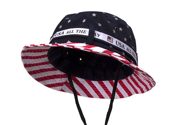 Front of American Flag Bucket Hat With String
