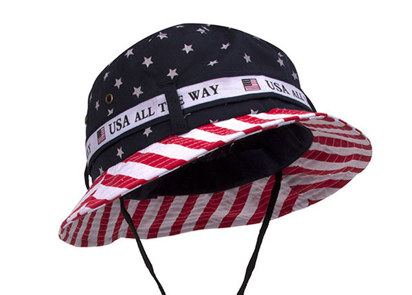 Slant of American Flag Bucket Hat With String