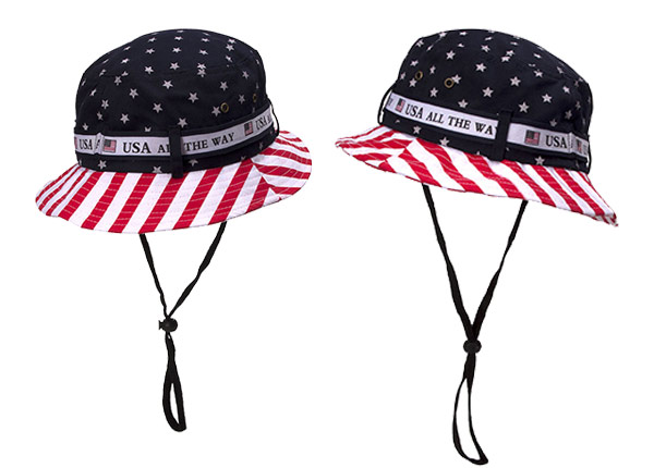 Overview of American Flag Bucket Hat With String
