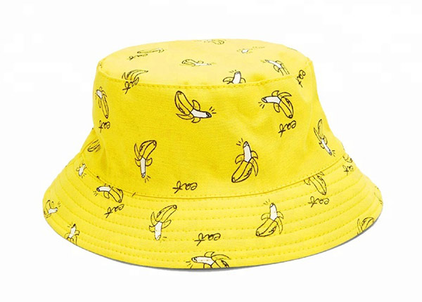 Back of Yellow Cotton Bucket Hat with Printed Banana Pattern