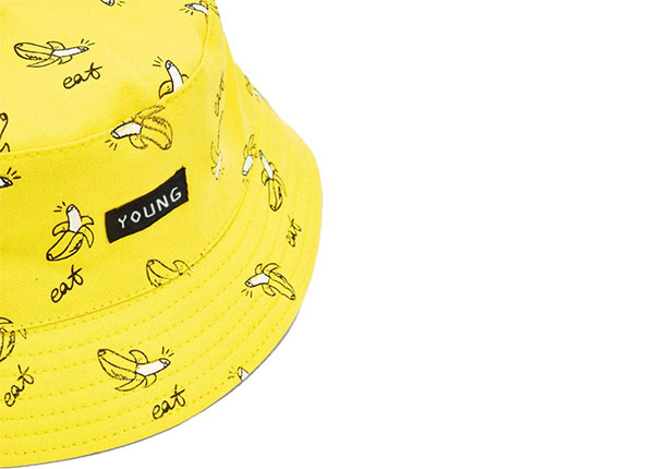 Slant of Yellow Cotton Bucket Hat with Printed Banana Pattern