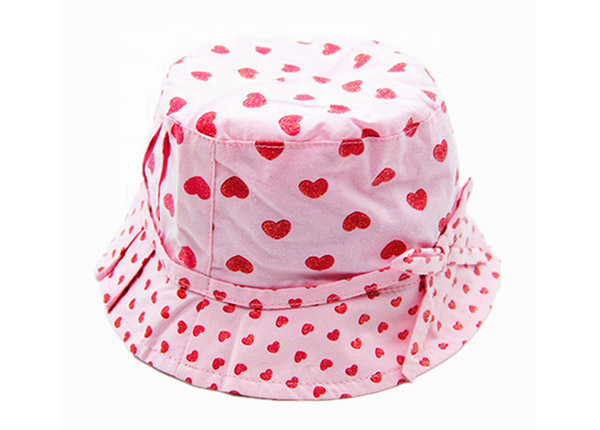 Overview of Pink Printed Bucket Hat with Adjustable Head Strap For Girls
