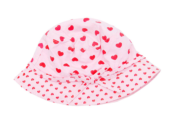 Front of Pink Printed Bucket Hat with Adjustable Head Strap For Girls