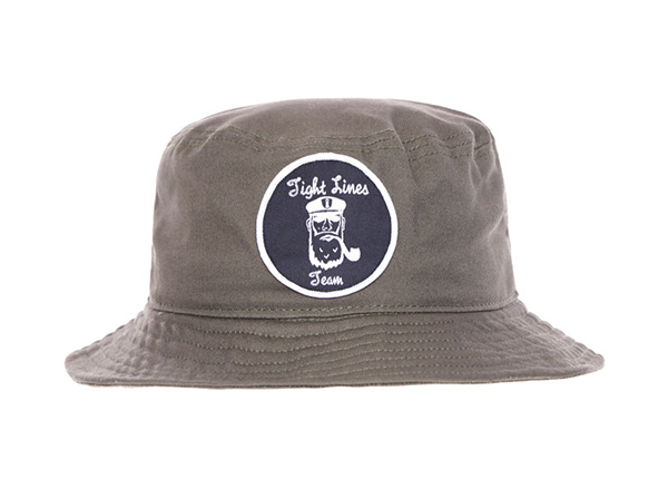 Front of Khaki Bucket Hat with a Patch Logo