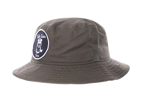 Side of Khaki Bucket Hat with a Patch Logo