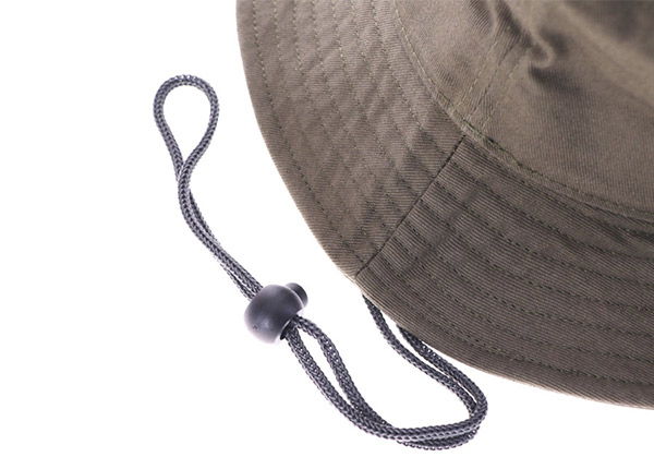 String of Khaki Bucket Hat with a Patch Logo