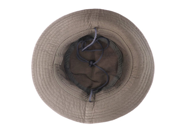 Inside of Khaki Bucket Hat with a Patch Logo