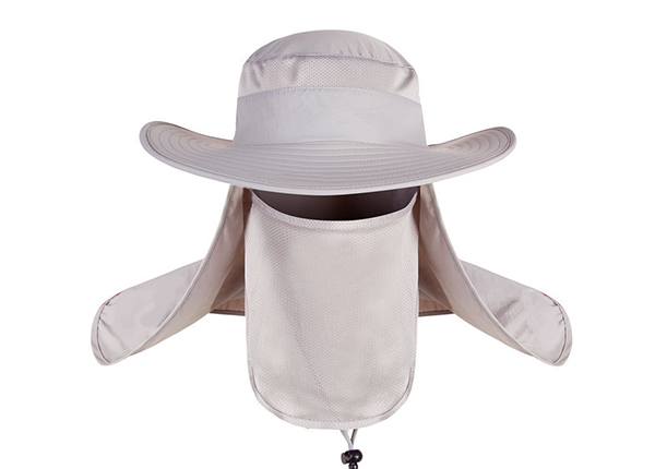 Front of Visor Bucket Hat with Neck and Face Shield