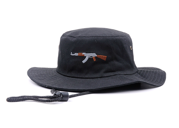 Front of Black Bucket Hat with String