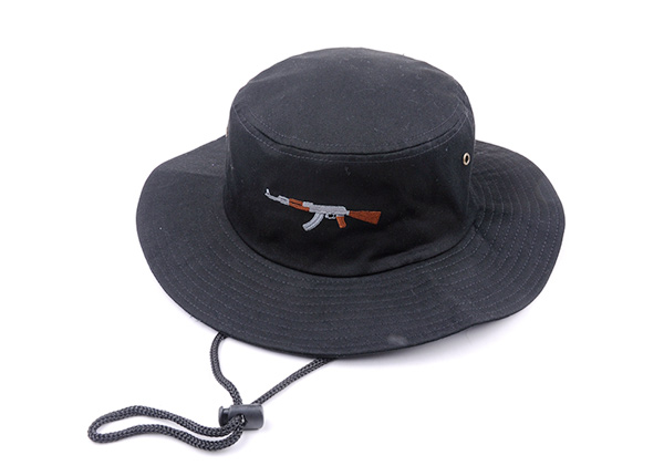Slant of Black Bucket Hat with String