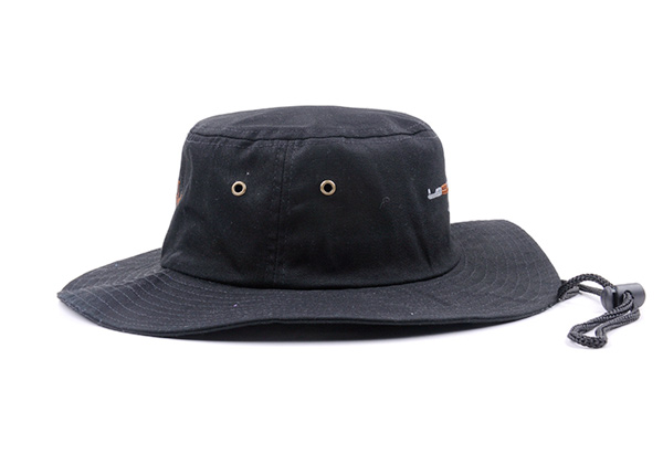 Side of Black Bucket Hat with String