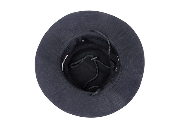 Inside of Black Bucket Hat with String