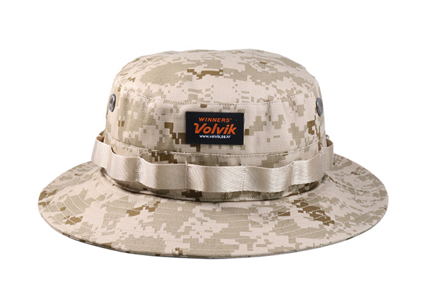 Front of Desert Camo Bucket Hat with Head Strap