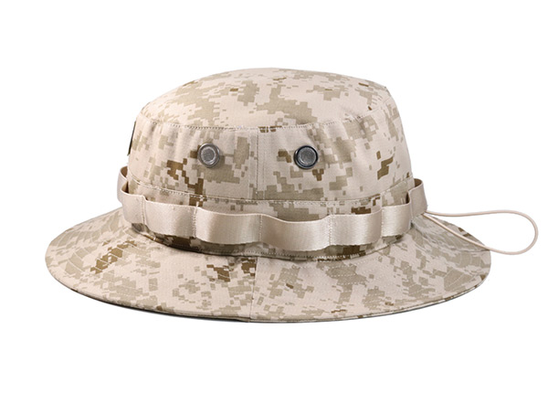 Side of Desert Camo Bucket Hat with Head Strap