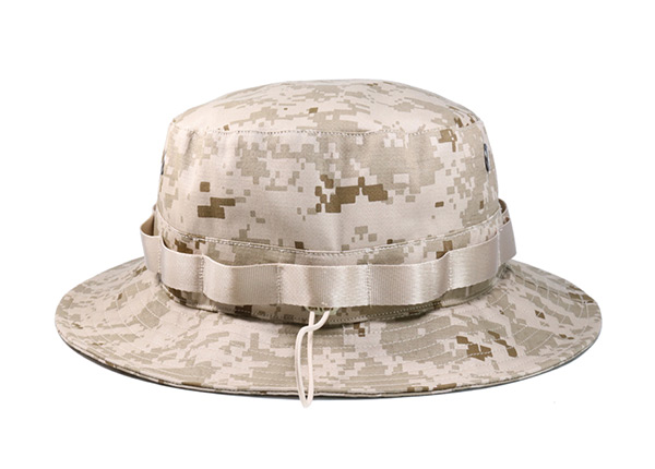 Back of Desert Camo Bucket Hat with Head Strap