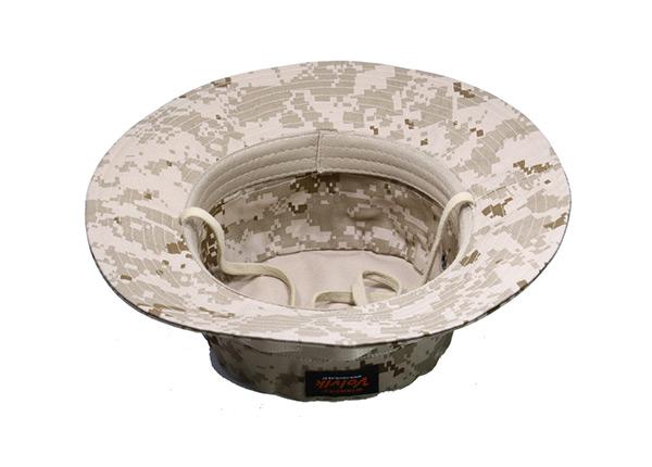 Inside of Desert Camo Bucket Hat with Head Strap