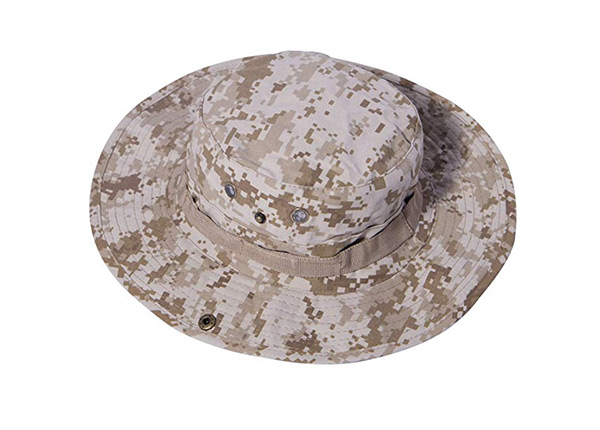 Front of Custom Digital Camo Bucket Hat with String