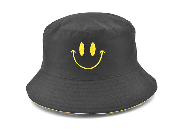 Front of Reversible Black Bucket Hat with a Smile Logo