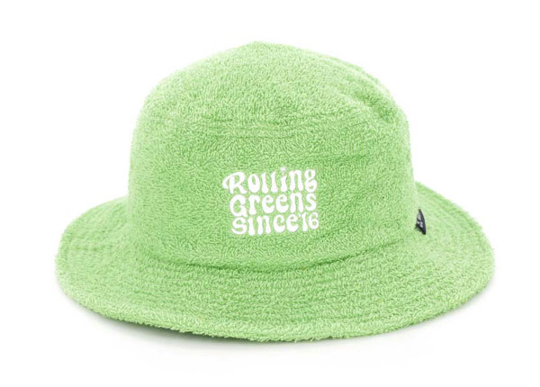 Front of Green Fleece Bucket Hat with White Embroidered Logo