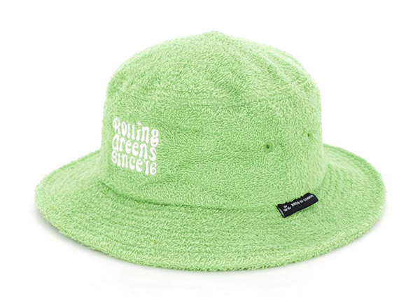 Slant of Green Fleece Bucket Hat with White Embroidered Logo