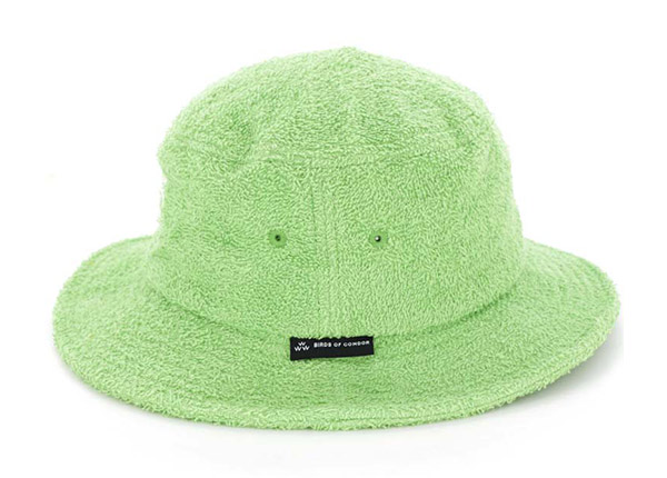 Side of Green Fleece Bucket Hat with White Embroidered Logo