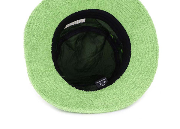 Inside of Green Fleece Bucket Hat with White Embroidered Logo