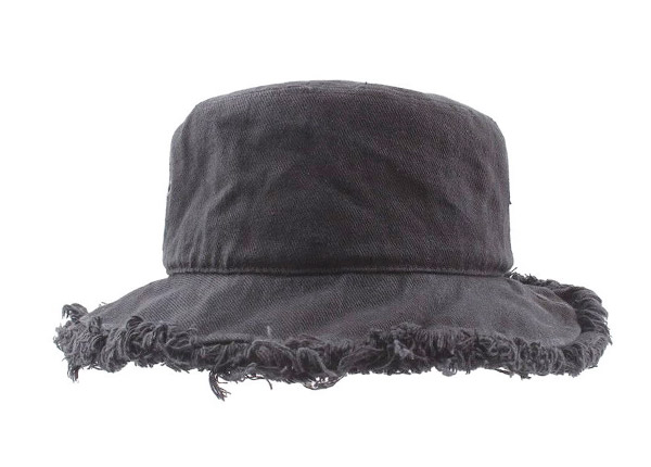 Front of Black Blank Frayed Bucket Hat