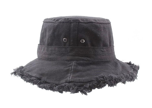 Side of Black Blank Frayed Bucket Hat