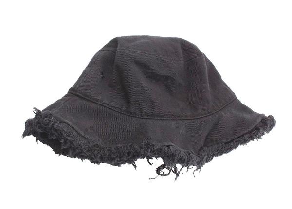 Back of Black Blank Frayed Bucket Hat