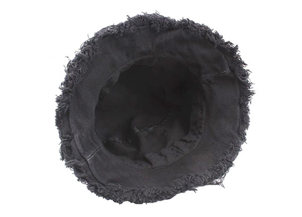 Inside of Black Blank Frayed Bucket Hat