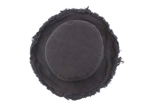 Top of Black Blank Frayed Bucket Hat