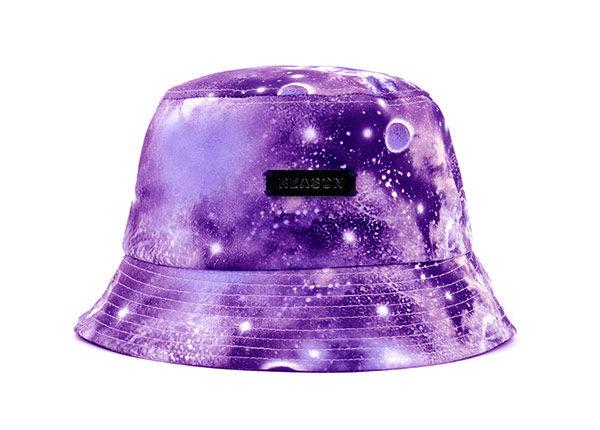 Galaxy Bucket Hat Purple Printed Bucket Hat with a Metal Label