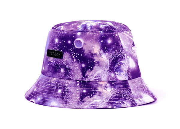 Slant of Purple Galaxy Printed Bucket Hat with Metal Label
