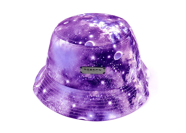 Overview of Purple Galaxy Printed Bucket Hat with Metal Label