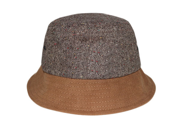 Front of Blank Grey Hemp Bucket Hat with Brown Suede Wide Brim