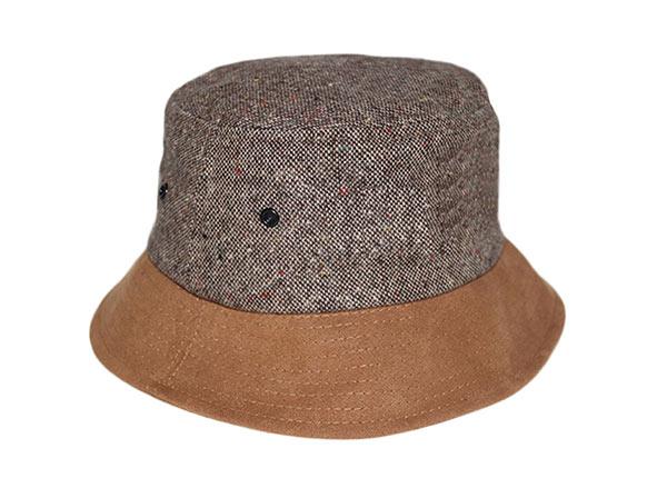 Slant of Blank Grey Hemp Bucket Hat with Brown Suede Wide Brim