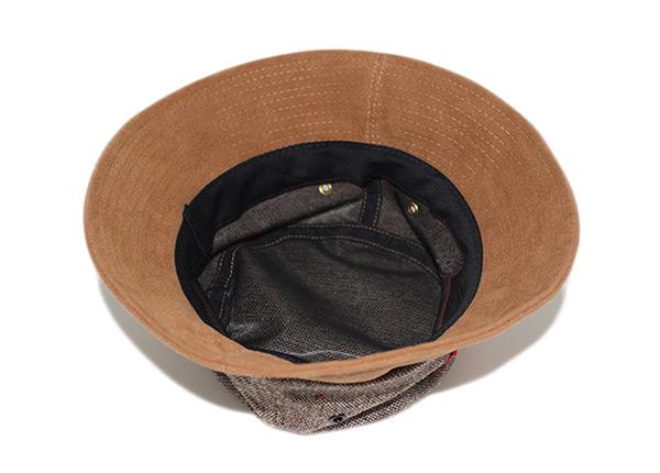 Inside of Blank Grey Hemp Bucket Hat with Brown Suede Wide Brim