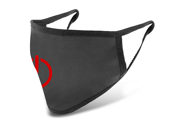 Slant of Washable Black Cotton Face Mask with a Switch Logo