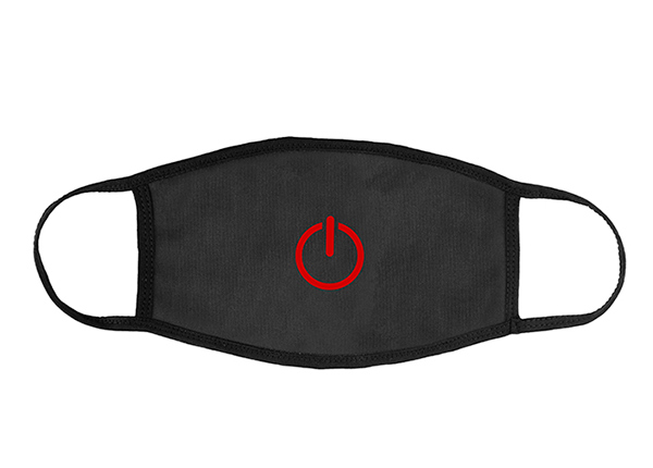 Front of Washable Black Cotton Face Mask with a Switch Logo
