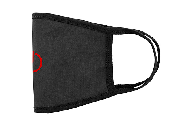 Side of Washable Black Cotton Face Mask with a Switch Logo