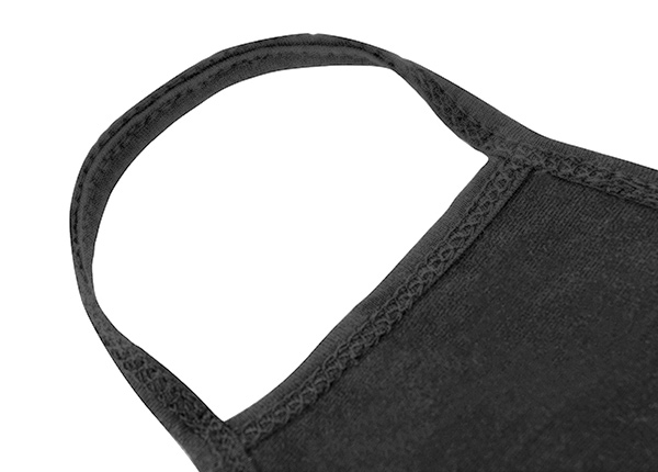 Earloop of Washable Black Cotton Face Mask with a Switch Logo