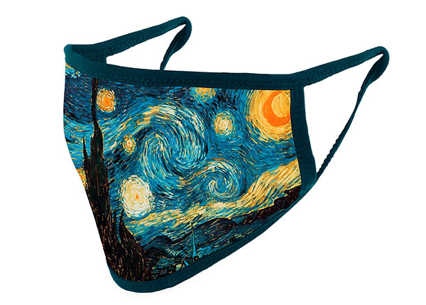 Slant of Cotton Face Mask With a Filter Pocket and Starry Night Interactive Animation Printed