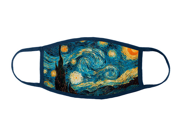 Front of Cotton Face Mask With a Filter Pocket and Printed Starry Night Interactive Animation